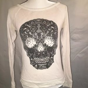 EXPRESS brand Sweater Top Embellished Lace Skull